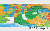Flag Panoramic Map of Pakistan, political outside