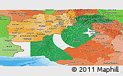 Flag Panoramic Map of Pakistan, political shades outside, flag centered