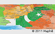 Flag Panoramic Map of Pakistan, political shades outside