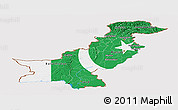 Flag Panoramic Map of Pakistan