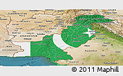 Flag Panoramic Map of Pakistan, satellite outside, flag centered