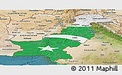 Flag Panoramic Map of Pakistan, satellite outside, flag rotated
