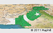 Flag Panoramic Map of Pakistan, satellite outside