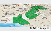 Flag Panoramic Map of Pakistan, shaded relief outside, flag centered