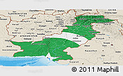 Flag Panoramic Map of Pakistan, shaded relief outside, flag aligned to the middle