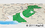 Flag Panoramic Map of Pakistan, shaded relief outside