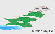 Flag Panoramic Map of Pakistan, single color outside, bathymetry sea, flag rotated