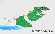 Flag Panoramic Map of Pakistan, single color outside, bathymetry sea