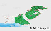 Flag Panoramic Map of Pakistan, single color outside, shaded relief sea