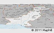 Gray Panoramic Map of Pakistan