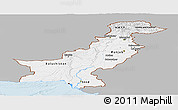 Gray Panoramic Map of Pakistan, single color outside