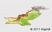 Physical Panoramic Map of Pakistan, cropped outside