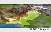 Physical Panoramic Map of Pakistan, darken
