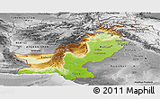 Physical Panoramic Map of Pakistan, desaturated
