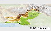 Physical Panoramic Map of Pakistan, lighten
