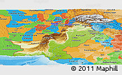 Physical Panoramic Map of Pakistan, political outside, shaded relief sea