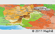 Physical Panoramic Map of Pakistan, political shades outside, shaded relief sea
