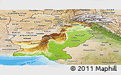 Physical Panoramic Map of Pakistan, satellite outside, shaded relief sea