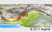 Physical Panoramic Map of Pakistan, semi-desaturated, land only