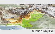 Physical Panoramic Map of Pakistan, semi-desaturated