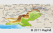 Physical Panoramic Map of Pakistan, shaded relief outside
