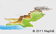 Physical Panoramic Map of Pakistan, single color outside