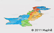 Political Panoramic Map of Pakistan, cropped outside