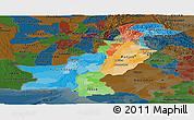 Political Panoramic Map of Pakistan, darken