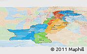 Political Panoramic Map of Pakistan, lighten