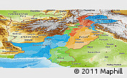 Political Panoramic Map of Pakistan, physical outside