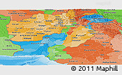 Political Panoramic Map of Pakistan, political shades outside