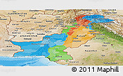 Political Panoramic Map of Pakistan, satellite outside, bathymetry sea