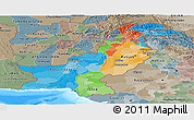 Political Panoramic Map of Pakistan, semi-desaturated, land only