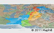 Political Panoramic Map of Pakistan, semi-desaturated
