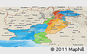 Political Panoramic Map of Pakistan, shaded relief outside, bathymetry sea