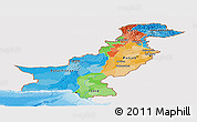 Political Panoramic Map of Pakistan, single color outside