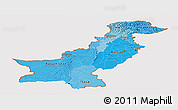 Political Shades Panoramic Map of Pakistan, cropped outside