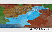 Political Shades Panoramic Map of Pakistan, darken