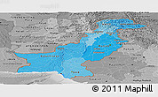 Political Shades Panoramic Map of Pakistan, desaturated