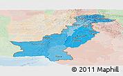 Political Shades Panoramic Map of Pakistan, lighten
