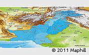 Political Shades Panoramic Map of Pakistan, physical outside