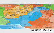 Political Shades Panoramic Map of Pakistan