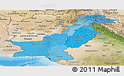 Political Shades Panoramic Map of Pakistan, satellite outside, bathymetry sea