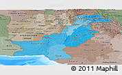 Political Shades Panoramic Map of Pakistan, semi-desaturated, land only