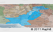Political Shades Panoramic Map of Pakistan, semi-desaturated