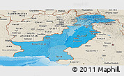 Political Shades Panoramic Map of Pakistan, shaded relief outside, bathymetry sea