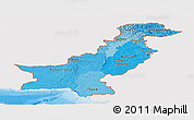 Political Shades Panoramic Map of Pakistan, single color outside