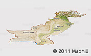 Satellite Panoramic Map of Pakistan, cropped outside
