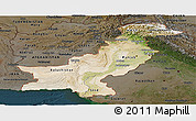 Satellite Panoramic Map of Pakistan, darken