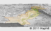 Satellite Panoramic Map of Pakistan, desaturated